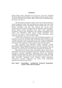 Pengaruh Good Corporate Governance Terhadap Nilai Perusahaan Pada Perusahaan Yang Terdaftar Di Jakarta Islamic Index Institutional Repository Of Iain Tulungagung