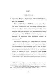 Analisis Implementasi Manajemen Organisasi Pada Badan Amil Zakat