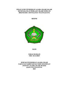 Peran Guru Pendidikan Agama Islam Dalam Meningkatkan Perilaku Islami Siswa Di Smknegeri 1 Boyolangu Tulungagung Institutional Repository Of Iain Tulungagung