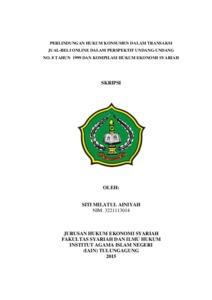 Perlindungan Hukum Konsumen Dalam Transaksi Jual Beli Online Dalam Perspektif Undang Undang No 8 Tahun 1999 Dan Kompilasi Hukum Ekonomi Syariah Institutional Repository Of Iain Tulungagung