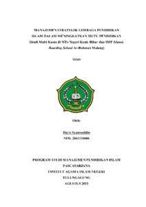 Contoh skripsi manajemen pendidikan islam